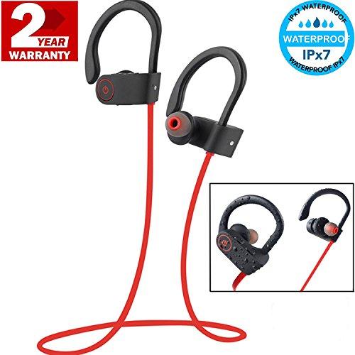 Amuu Bluetooth Headphones Wireless Sports Earphones with Mic IPX7 Waterproof Noise-Canceling Volume Control Foldable Lightweight Phone Control Microphone Sweatproof Noise Isolating Stereo Headset (Noise Isolating Stereo Headset)