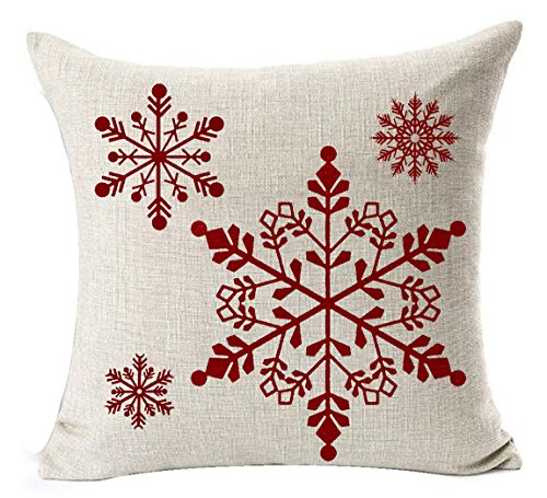 Andreannie Happy Winter Beautiful Red Fantastic Shadow Various Snowflakes Merry New Home Room Decorative Cotton Linen Throw Pillow Case Cushion Cover Square 18 X 18 Inches