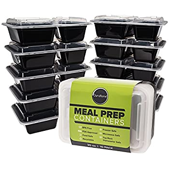 Durahome - Meal Prep Containers, 10-Pack 2 Compartment, BPA Free Food Storage Container with Lids, Portion Control, 30oz.