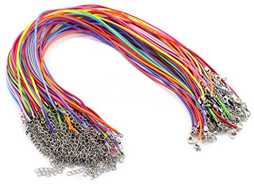 (10 CleverDelights Imitation Leather Cord Necklaces - Mixed Colors - 18 Inch - with Lobster Clasp - 2mm)