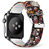 Lwsengme For Apple Watch Band 38mm 42mm, Soft Silicone Replacment Sport Bands for iWatch Series 3 Series 2 Series 1 - Pattern Printed