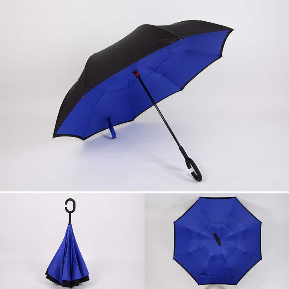 F  YZMBYUSAN Parapluie Coupe-Vent inversé Double Couche Se Pliant parapluies inversés Auto-Support Pluie Soleil Prougeection C-Crochet pour Voiture