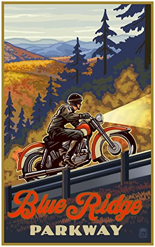 Blue Ridge Parkway North Carolina Motorcycle Climb Travel Art Print Poster Paul A. Lanquist (30