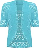 Plus Size Womens Crochet Knitted Shrug Top - Turquoise - 20-22