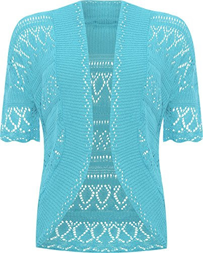 Plus Size Womens Crochet Knitted Shrug Top - Turquoise - 20-22 - Iris Lite
