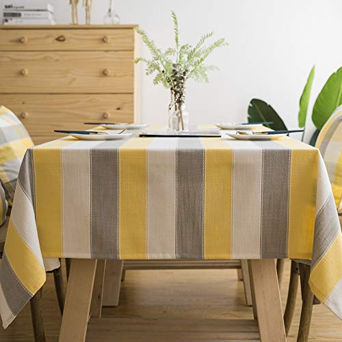 TruDelve Heavy Duty Cotton Linen Table Cloth for Rectangle Table Farmhouse Tablecloth for Dining Table Dust-Proof Table Cover for Tabletop Decoration (52