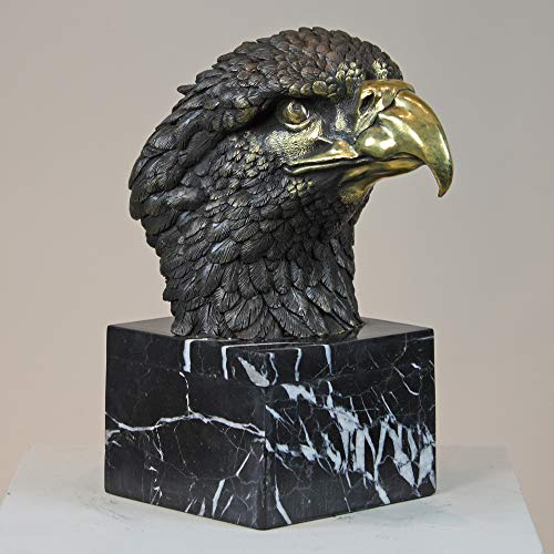 Pair Two Tone Bronze Eagle Head Statue ()