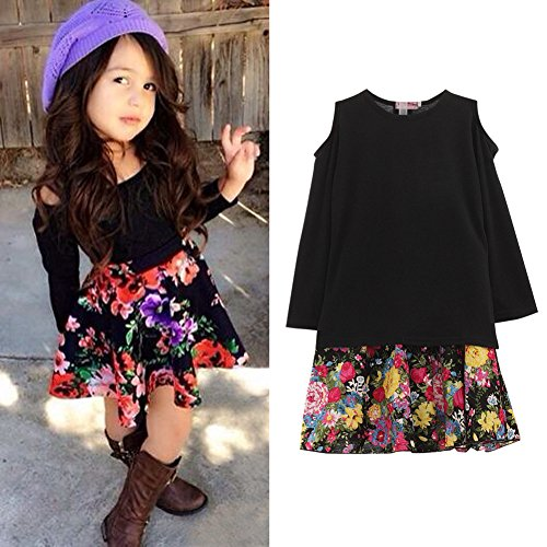Diamondo 2PCS Toddler Kids Baby Girls Outfits Clothes T Shirt Tops Short Dress Skirt (3-4Y)