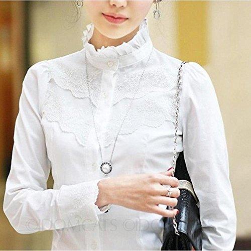 Nonbrand Camisa para mujer de manga larga, diseño con encaje, estilo victoriano vintage blanco