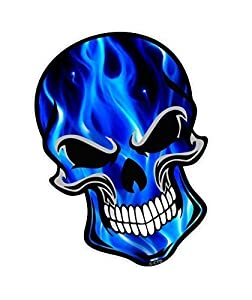 Gothic Biker Skull Design With Electric Blue Flames Motif Vinyl