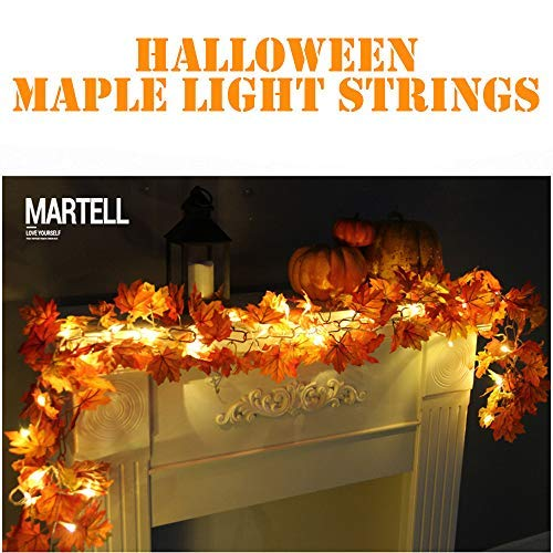 Icocol Boutique! 1.8M LED Lighted Fall Autumn Pumpkin Maple Leaves Garland Thanksgiving Decor