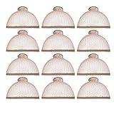 12 Pack Dreamlover Brown Mesh Net Wig Caps, Open End Fishnet Breathable Nylon Short Wig Caps for Short Hair, Brown