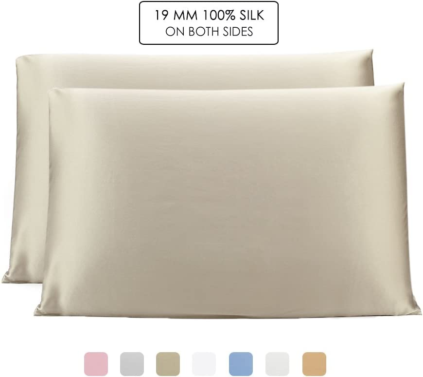OLESILK 100% Mulbery Silk Pillowcase 2 Pack with Hidden Zipper for Hair and Skin Beauty,Both Sides 19mm Charmeuse - Taupe, Standard