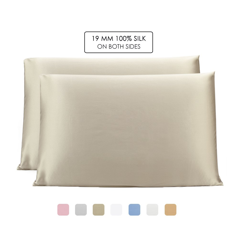 OleSilk 100% Mulbery Silk Pillowcase with Hidden Zipper for Hair and Skin Beauty,Both Sides 19mm Charmeuse Gift Box 2pcs - Taupe, Standard