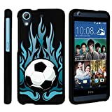 HTC Desire 626 Case, Slim Fit Snap On Cover with Unique, Customized Design for HTC Desire 626 from MINITURTLE | Includes Clear Screen Protector and Stylus Pen - Fiery Soccer Ball