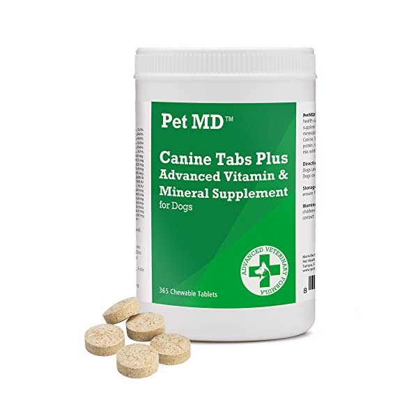 Pet MD – Canine Tabs Plus 365 Count – Advanced Multivitamins for Dogs – Natural Daily Vitamin and Mineral Nutritional Supplement – Liver Flavored Chewable Tablets