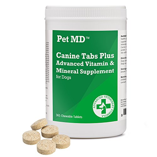 (Pet MD - Canine Tabs Plus 365 Count - Advanced Multivitamins for Dogs - Natural Daily Vitamin and Mineral Nutritional Supplement - Liver Flavored Chewable Tablets)