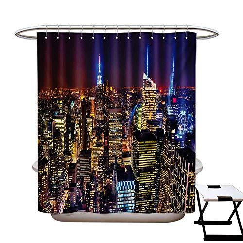 BlountDecor New York Shower Curtains Digital Printing Aerial Cityscape Landmark Fourth of July Independence Penthouse Modern Art Image Satin Fabric Bathroom Washable W72 x L72 Purple ()