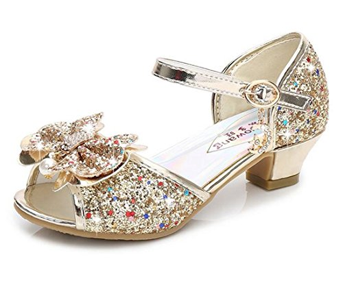 Bumud Kid's Glitter Sandals Little Girl's Sequin Pretty Party Dress Pumps Low Heels Princess Shoes (9 M US Toddler, Golden) ()