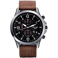 J.Market Quartz Watch Mens and Boys Canvas Waterproof Quartz Fashionable Men Watch With Date Function with Canvas Band (Brown)