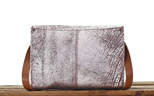 LINDISPENSABLE Ambra Argentata Borsa a tracolla in pelle, borsa donna stile vintage PAUL MARIUS