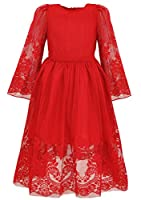 Bonny Billy Girl's Classy Embroidery Lace Maxi Flower Girl Dress
