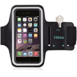 iPhone 6 plus Armband,iPhone 6s plus Armband,by Hilda,Feartured with Sport Scratch-Resistant Material,Slim Lightweight,Dual Arm-Size Slots,Sweat Resistant&Key Pocket,with Headphone Ports[Black]
