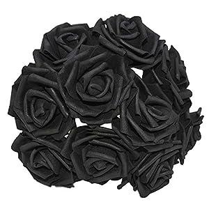 25 Heads 8CM New Colorful Artificial PE Foam Rose Flowers Bride Bouquet Home Wedding Decor Scrapbooking DIY Supplies,Black 95