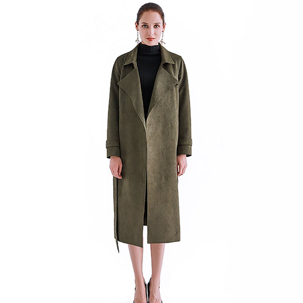 French CG V-Necked Thin Waistband mid-Length Lady's Spring and Autumn Coat 883H032 (Customized, Green)