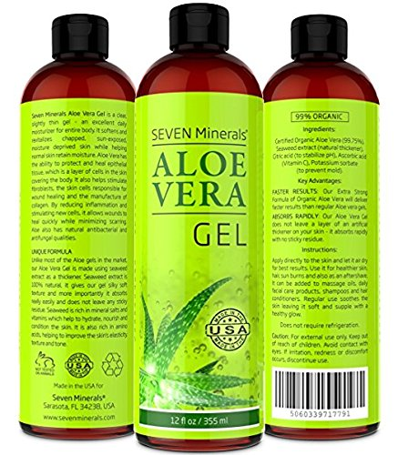 Aloe Vera Gel – 99% Organic – NO XANTHAN, so it Absorbs Rapidly with No Sticky Residue – made from REAL JUICE, NOT POWDER