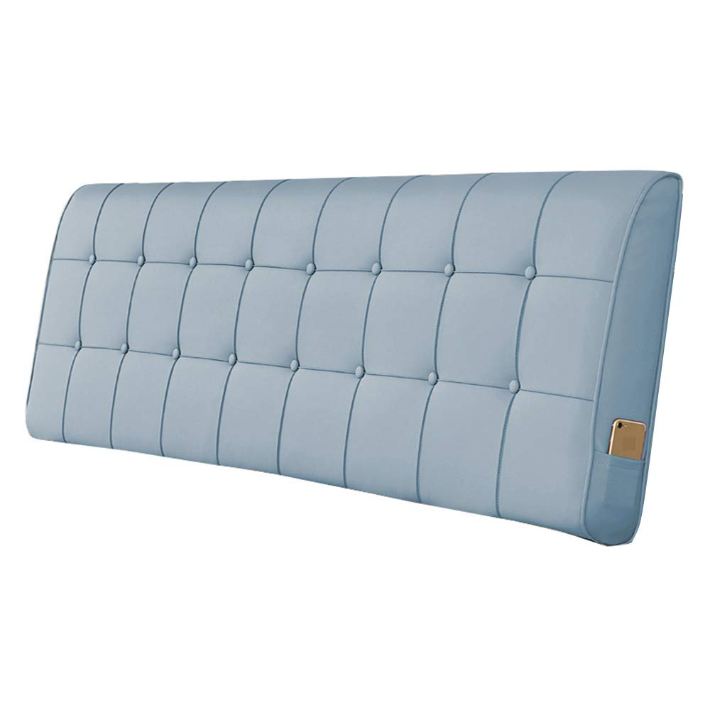 bluee 120×10×60CM Headboard Cushion Double Bed Wedge Backrest Pad Reading Lumbar Pillows Artificial Leather Upholstered Bedside Soft Pack
