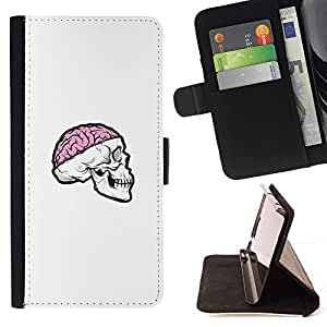 Momo Phone Case / Flip Funda de Cuero Case Cover - Cráneo rosado del cerebro;;;;;;;; - Samsung Galaxy Note 4 IV