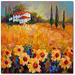 Trademark Fine Art Tuscan Sunflowers by Marion Rose, 18x18-Inch Canvas Wall Art