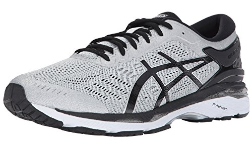 ASICS Men's Gel-Kayano 24 Running Shoe, Silver/Black/Mid Grey, 12 Medium US -