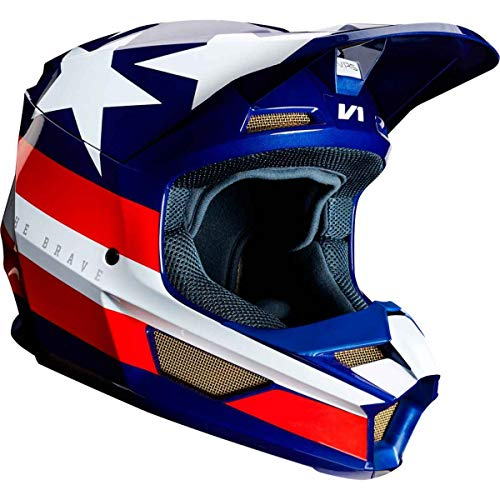 Fox Racing V1 REGL SE Offroad Helmet Large White Red Blue  - Off Road Racing Helmets