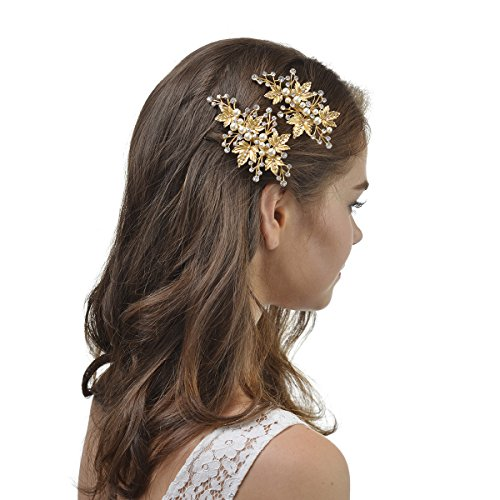 Remedios Gold Leaves Crystal & Pearl Bridal Wedding Hair Clip Comb Accessory