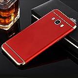 nKarta Shockproof Electroplating 3 IN 1 Removable Hard Matte Back Cover Case For Samsung Galaxy J7 J700F 2015 Model (Red)