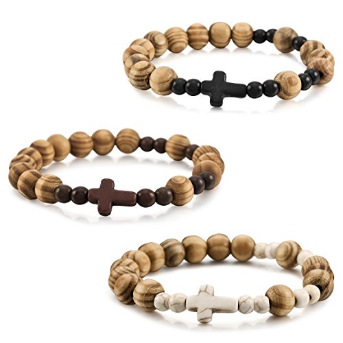 INBLUE Men,Women's 3 PCS 10mm Wood Bracelet Wrist Link Tibetan Buddhist Bead Prayer Buddha Mala Cross Elastic Set