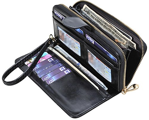 Yeeasy Womens Wallets Ladies Long Zipper PU Leather Clutch Purse Card Holder - Leather Like Finish