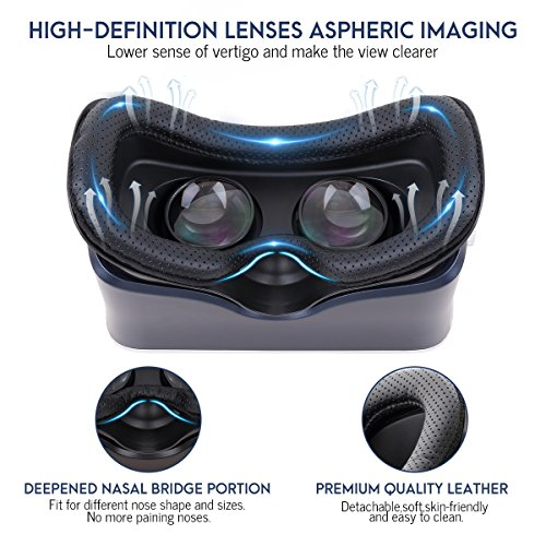 Pansonite 3D VR Glasses Virtual Reality Headset for Games & 3D Movies, Upgraded & Lightweight with Adjustable Pupil and Object Distance for IOS and Android Smartphone by Pansonite (Image #5)