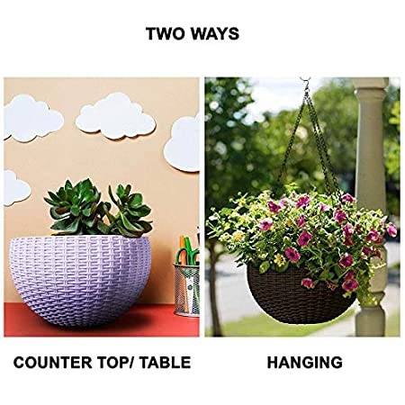Oshi Greens Decorative Home, Garden, Office Fower Pot with Hanging Chain Purple 1 pc