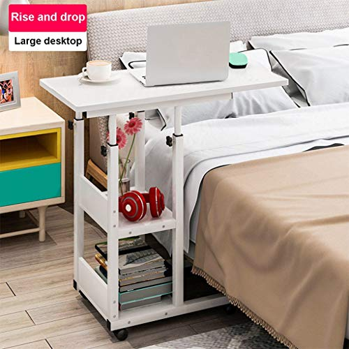 - Mijaution Overbed Table - Adjustable Height Movable Bedside Table Computer Desk Sofa Table Double Shelves with Wheels - Medical Or Household Table (White, 31.5