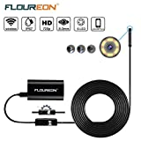 FLOUREON Wireless Endoscope Camera Borescope WiFi IOS Semi Rigid Inspection Camera 2.0 Megapixels HD SnakeCamera for Android and IOS Smartphone, iPhone, Samsung, Tablet (5 Meter) (Android/IOS)