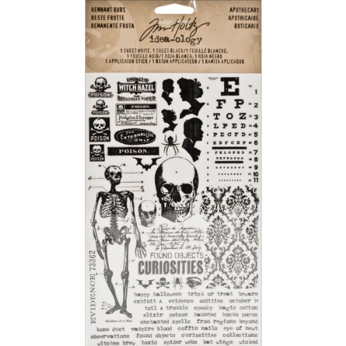Remnant Rubs by Tim Holtz Idea-ology, Apothecary, 4.75 x 7.75 Inch, 1 Sheet Black, 1 Sheet White, TH93094]()