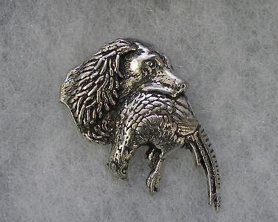 - Fine Pewter Spaniel Dog with Pheasant Pin Badge with Gift Pouch