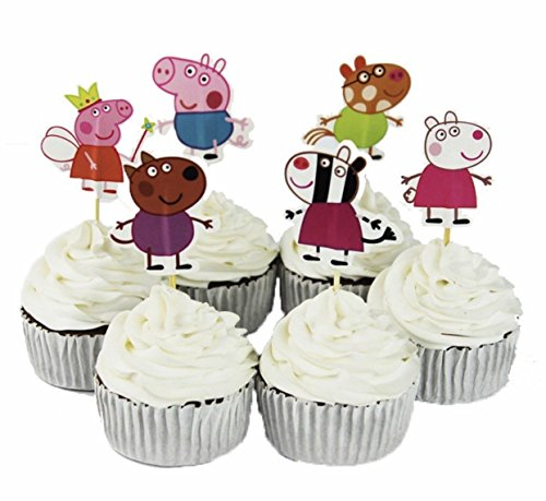 24pcs Peppa Pig Kids Party Decoration Paper Cupcake Toppers, Cake toppers.