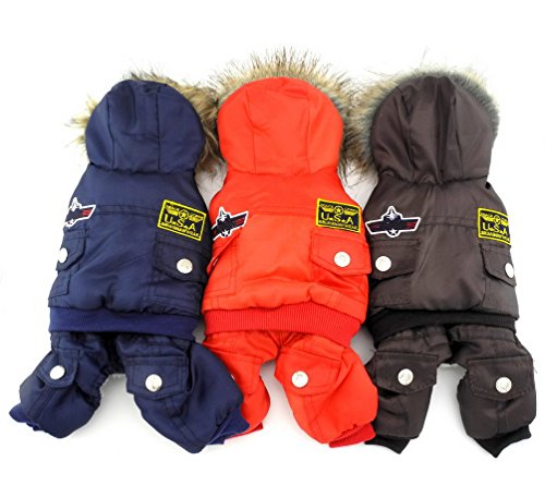 51r1r5klbRL - SELMAI Small Dog Apparel Airman Fleece Winter Coat Snowsuit Hooded Jumpsuit Waterproof (This style run small, pls take a measure of your furbaby and choose one size larger)