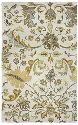 Rizzy Home | Volare Collection | Wool | Ivory/Sage/Khaki/Blue/Taupe Floral Area Rug | 9' x 12'