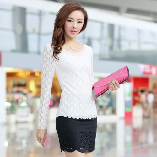 Crochet de encaje LOCOMO de manga larga para de estampado de flores con diseño rectangular blusa de FFK034BEI blanco