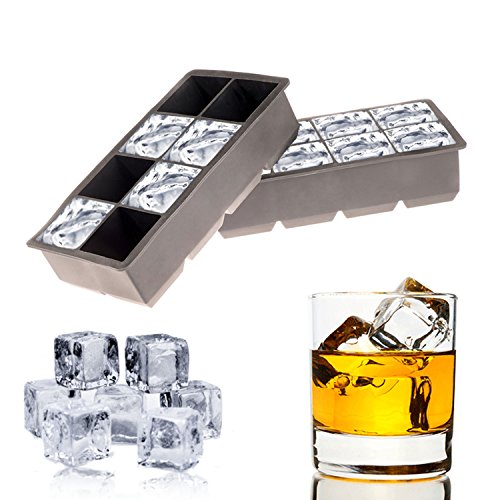 The Best Silicone Ice Cube Tray Molds. Set of (2) Flexible Silicone Trays with 8 Large King Cubes per Tray -Jumbo
